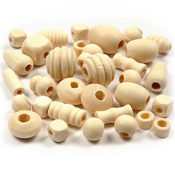 Holzperlen-Mix 5-28mm 2l ca. 800-1.000g natur verschiedene Formen, Lochgr. ca. 2,5-3mm