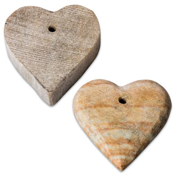 Herzen Speckstein ca. Ø 40x10mm 10 St. mit Bohrung, Farbe zufällig