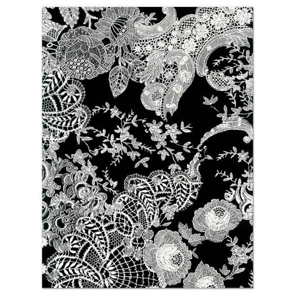 Decoupagepapier floral schwarz/weiß von Décopatch, 30x40cm, 20g/m²