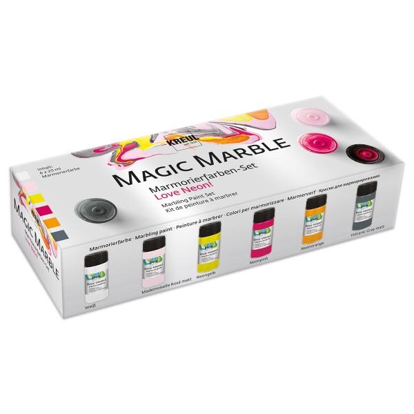 Hobby Line Magic Marble-Set 6 Farben à 20ml Love Neon Marmorierfarbe, mit Anleitung