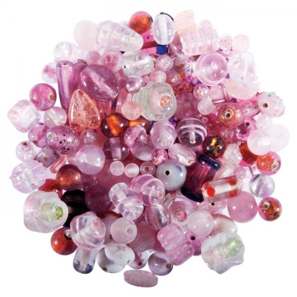 Glasperlen-Mix ca. 2-20mm 250g rosatöne Lochgr. ca. 0,7-2mm