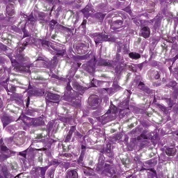 Rocailles transparent 2,6mm 500g lila Silbereinzug, Glas, Loch ca. 0,9mm