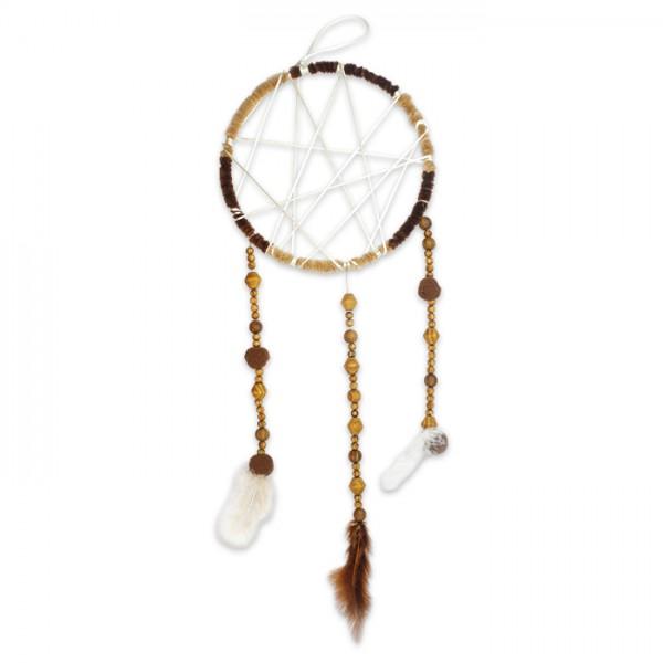 Traumfänger-Set Ø 20cm natur Komplettset mit Ring, Perlen, Schnüren, Federn