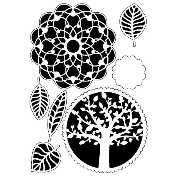 Universal-Schablone DIN A4 Baum Blätter Mandala Kunststoff