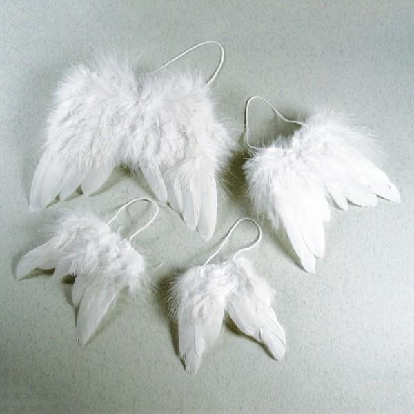 Engelflügel Federn 10,5x9,5cm 2er-Set weiß mit Aufhängekordel