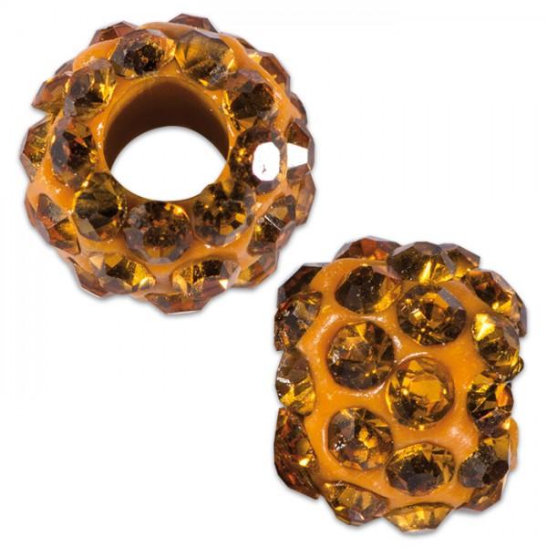 Strassperle Großlochperle 10mm goldfarben Lochgröße ca. 4mm