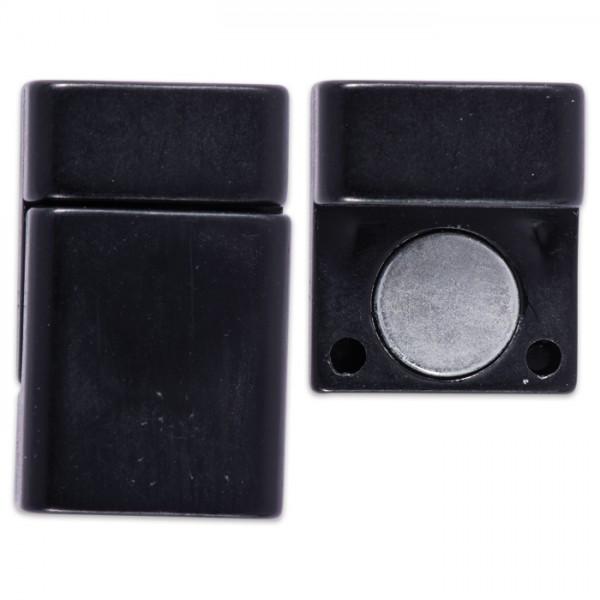 Magnetverschluss 12x21x6mm schwarz matt innen: 10x1mm, zum Kleben, Kunststoff/Metall