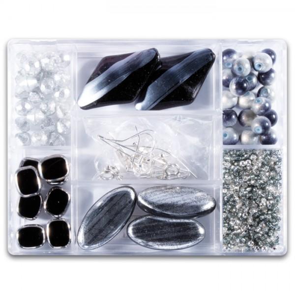 Glasperlen-Mix ca. 7-15mm ca. 70g schwarz-weiß Box 7 Fächer, inkl. Zubehör, Lochgr. ca. 0,7-1mm