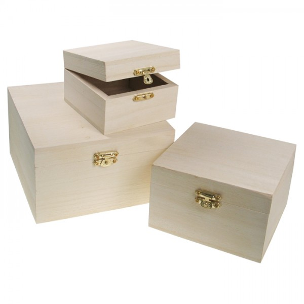 Quadratdosen Schnappverschluss 3er-Set natur Holz/Metall,h9cm 15x15cm,h7,5cm 12x12cm,h6cm 9x9cm
