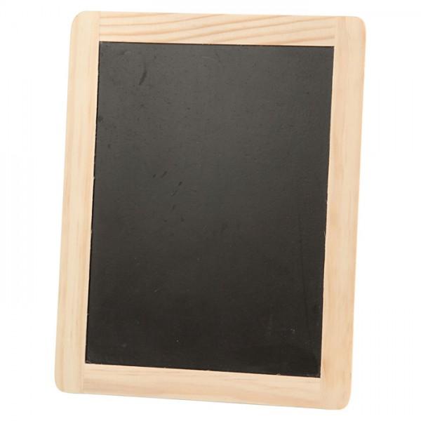 Tafel mit Holzrahmen 19x24cm schwarz/natur