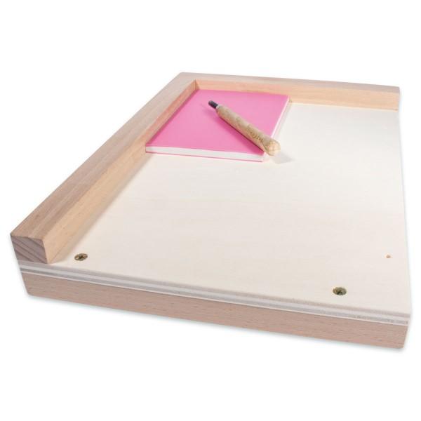 Sicherheits-Arbeitsbrett Holz ca. 33,7x23,9cm für Linolschnitt ca. 30x20cm, mit Tischauflage