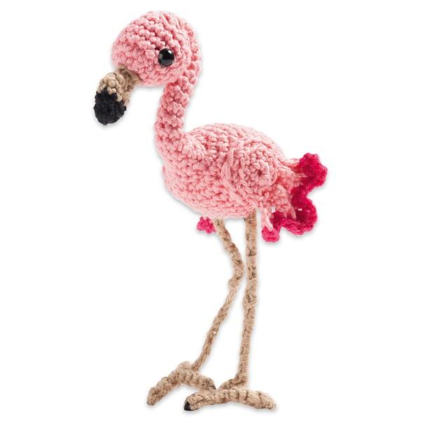 Häkel-Set Flamingo 8-10cm 5-teilig Wolle, Häkelnadel, Augen uvm., ab 8 Jahren