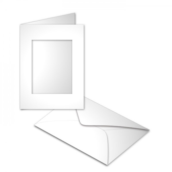 Passepartoutkarten DIN A6 10 St. rechteckig weiß 250g/m², mit Kuverts