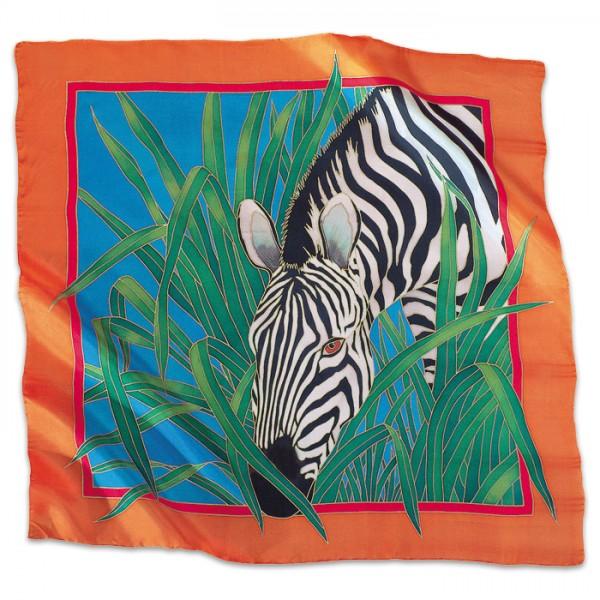 Tuch Gutta gold 55x55cm Zebra naturweiß 100% Seide, Seide Pongé 08