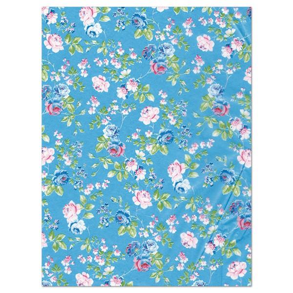 Decoupagepapier Rosen auf hellblau von Décopatch, 30x40cm, 20g/m²