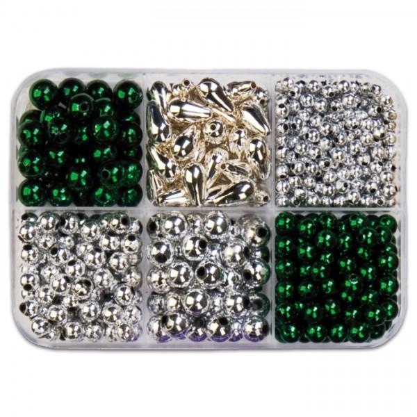 Metallicperlen-Box ca. 4-10mm ca.90g grün-silberf. Kunststoff, Lochgr. ca. 1-2mm