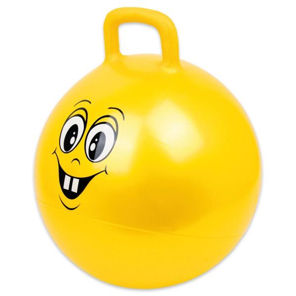 Hüpfball mit lustigem Gesicht Kunststoff Ø ca. 53cm gelb max. Belastbarkeit 150kg, ab 2 Jahren