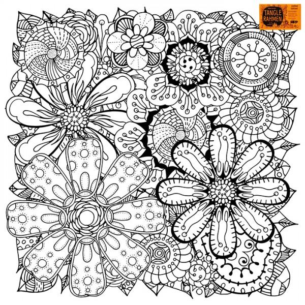 Tangle-Keilrahmen 20x20x2cm Blumenteppich