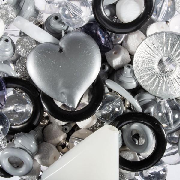 Kunststoffperlen-Mix grau/schwarz/silberf. satt 4-40mm, ca. 350-400g, Lochgr. ca. 0,9-12mm