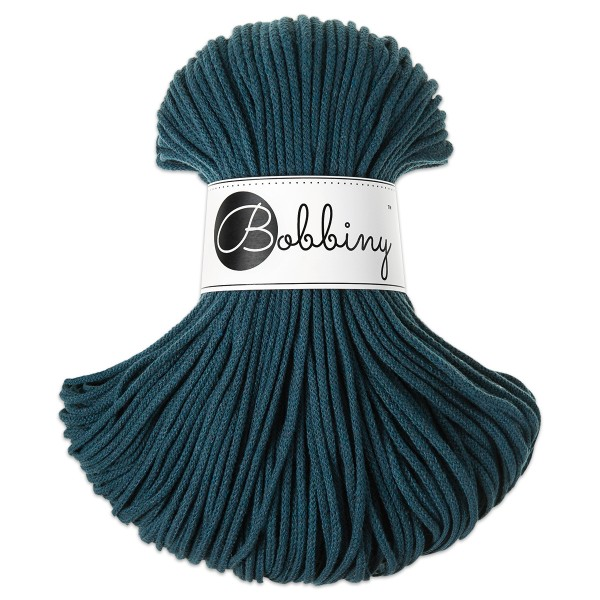 Bobbiny Rope-Garn Junior Ø3mm peacock blue ca. 200g-300g, 100% Baumwolle, LL 100m