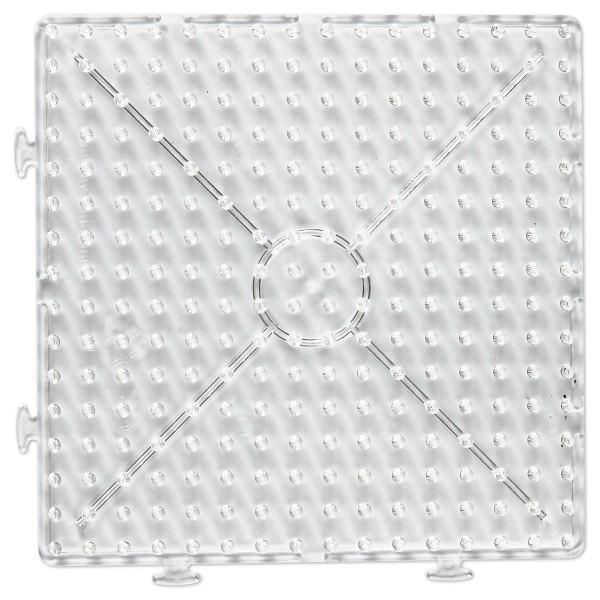 Steckplatte Kombi-Quadrat 15x15cm transparent für Nabbi-Bügelperlen medium, Kunststoff