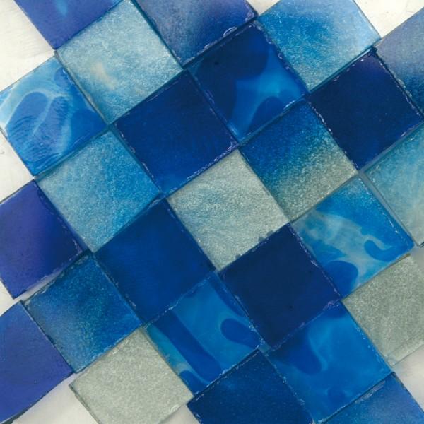 Glasmosaik 1x1cm ca. 850 Steine 500g blau transparent, ca. 2mm stark