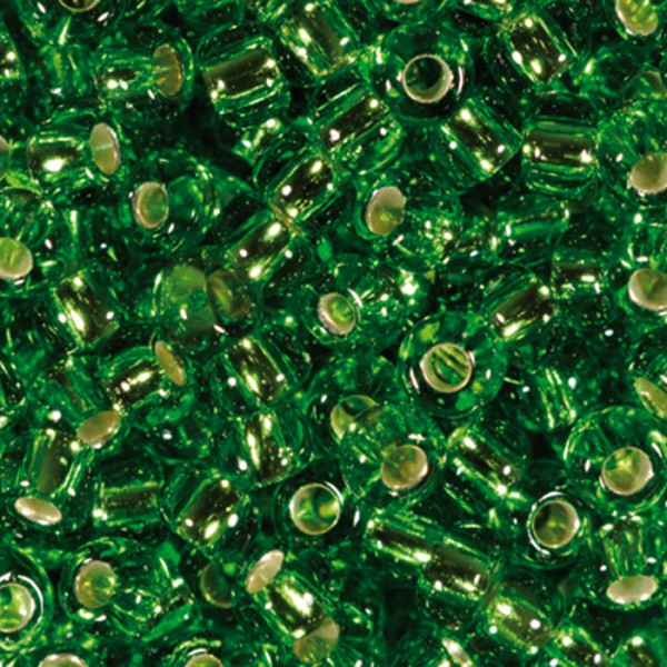 Rocailles transparent 2,6mm 17g lindgrün Silbereinzug, Glas, Lochgr. ca. 0,9mm