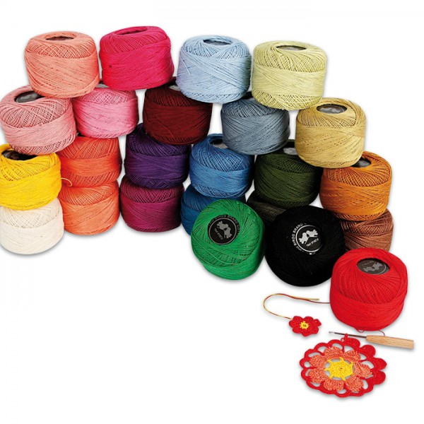 Baumwollgarn-Set 9/2 24 Farben à 20g 100% Baumwolle, ca. 125m pro Knäuel, inkl. Nadel Nr. 1,75