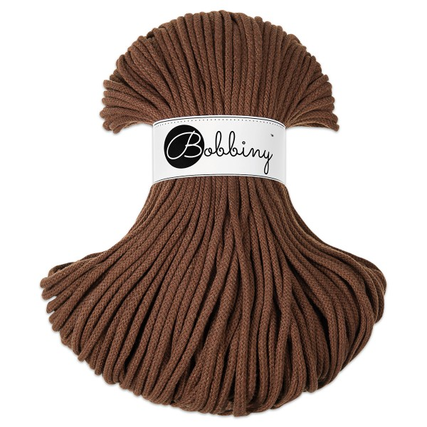Bobbiny Rope-Garn Premium Ø5mm mocha ca. 400g-500g, 100% Baumwolle, LL 100m, Nadel Nr. 10-12