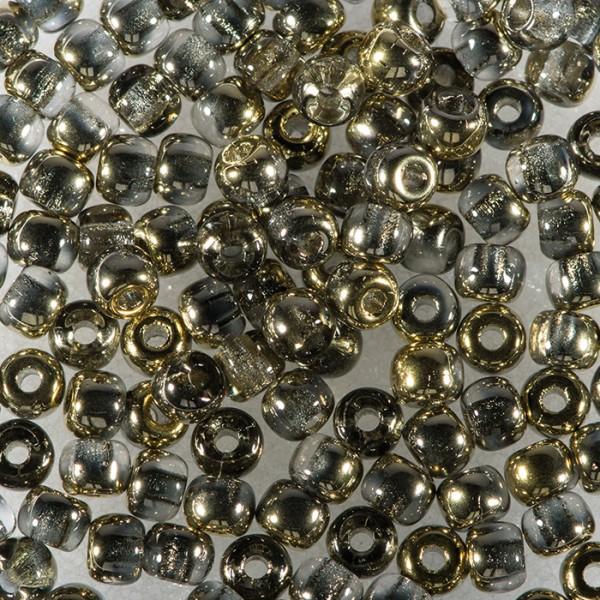 Rocailles DeluXes kristall 3mm 4g goldfarben glänzend, ca. 120 St., Glas, Lochgr. ca. 0,8mm