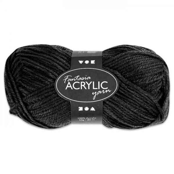 Fantasia Acryl-Wolle 50g schwarz 100% Polyacryl, für Nadel Nr. 4