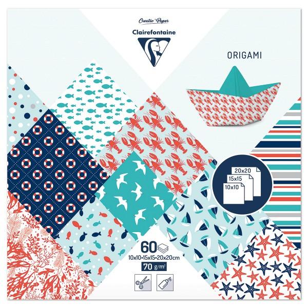 Origami-Papier 3 Formate 10x10/15x15/20x20cm 60 Bl. See 70g/m², 10 Motive