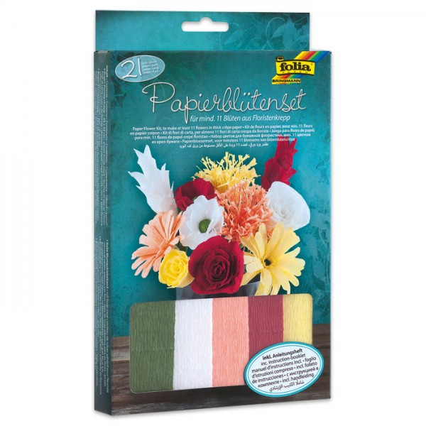 Krepp-Papierblütenset 21-teilig für mind. 11 Blüten, inkl. Anleitung & Zubehör