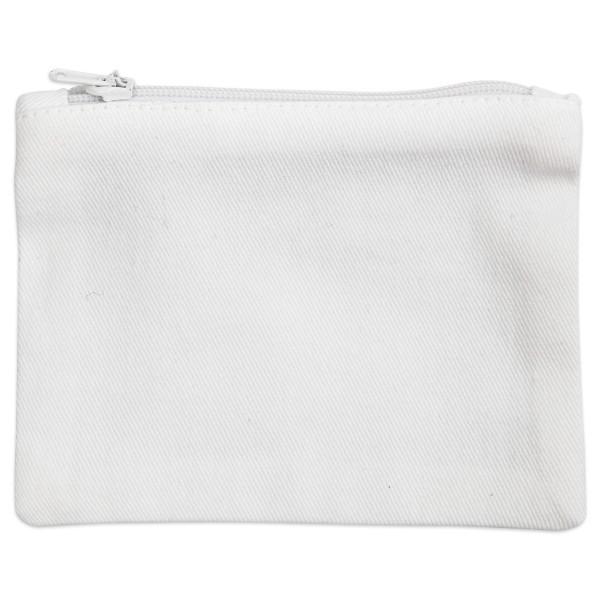 Geldbörse mit Reißverschluss ca. 9x12cm weiß 100% Baumwolle, 210g/m²