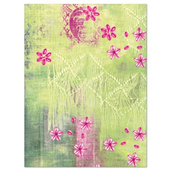 Decoupagepapier pinke Blüten auf grün von Décopatch, 30x40cm, 20g/m²