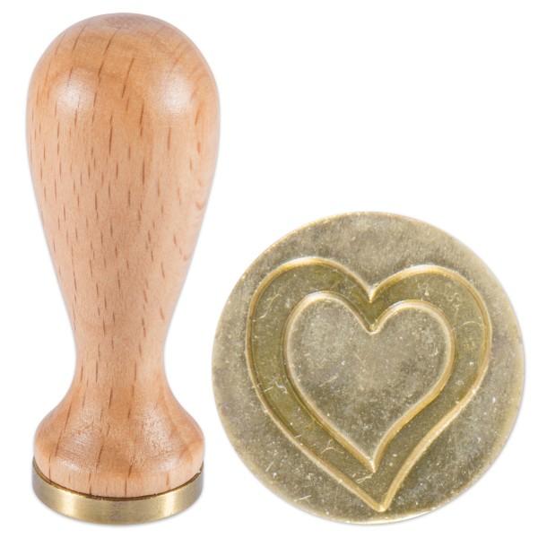 Siegelstempel Holz/Messing Ø 18x5mm Herz