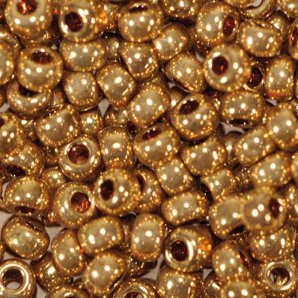Miyukibeads metallic 2,2mm 5g dorado/dunkelgoldf. Glas, Lochgr. ca. 0,9mm