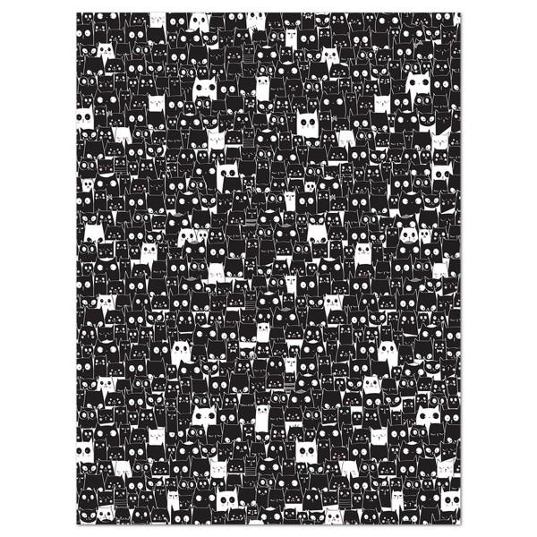 Decoupagepapier schwarz mit Kätzchen von Décopatch, 30x40cm, 20g/m²