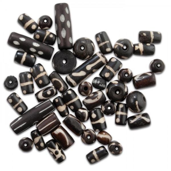 Knochenperlen-Mix ca. 8-25mm 30-40g schwarz-braun Lochgr. ca. 1,5-2mm