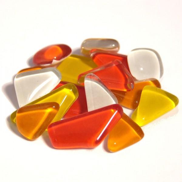 Mosaik Soft-Glas polygonal 200g gelb-rot mix 5-20mm, 4mm stark, ca. 130 Steine