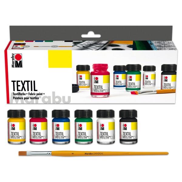 Marabu-Textil Starter-Set 6x15ml Textilfarben gelb/rot/grün/blau/schwarz/weiß, Zubehör