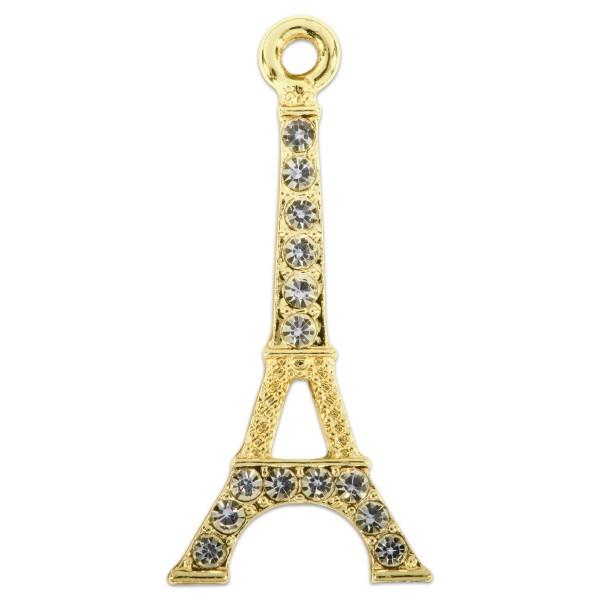 Metallanhänger Eiffelturm ca. 33x15mm 2 St. goldf./Strass kristall Lochgröße ca. 2mm