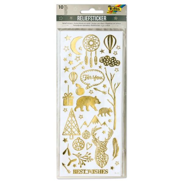 Reliefsticker Weihnachten 10 Bl./5 Farben Bogen à 24x10cm