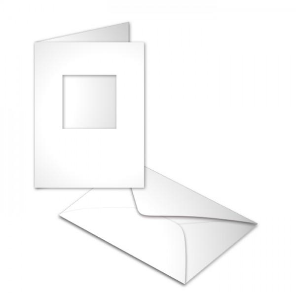 Passepartoutkarten DIN A6 10 St. quadratisch weiß 250g/m², mit Kuverts