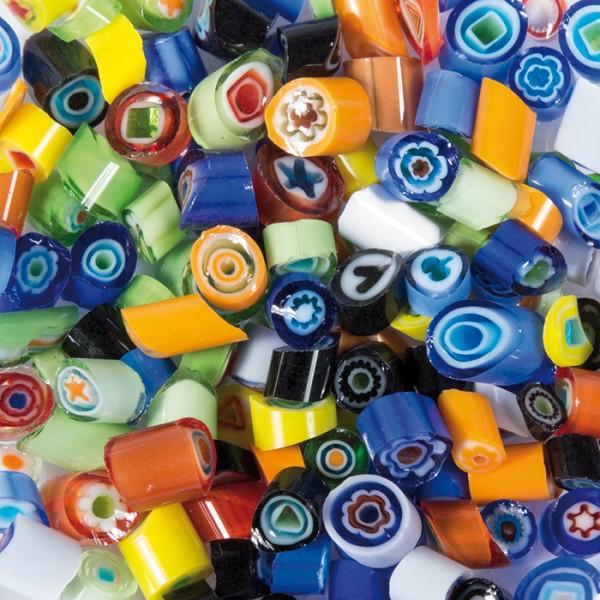 Glasmosaik Millefiori Ø ca. 4-5mm 50g bunt mix ca. 400 Steine, ca. 4-5mm stark