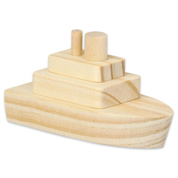 Holzbausatz Dampfer 8x4x4,5cm 2 St. natur ab 3 Jahren