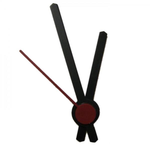 Uhrzeiger Metall 42/30mm schwarz Rundstab mit Sekundenzeiger