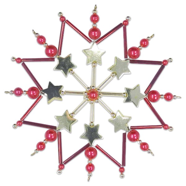 Sternenzauber Bastelset Ø ca. 12cm rot-goldfarben Komplettset
