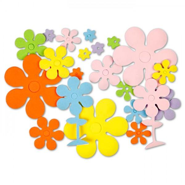 Blumen Moosgummi 1-6cm 100 St. bunt