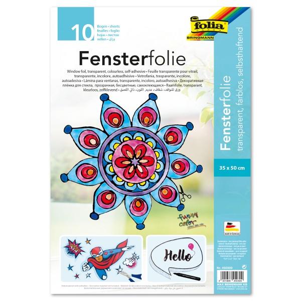 selbsthaftende Fensterfolie 35x50cm 10 Bl. transparent PVC, Window-Color-Folie